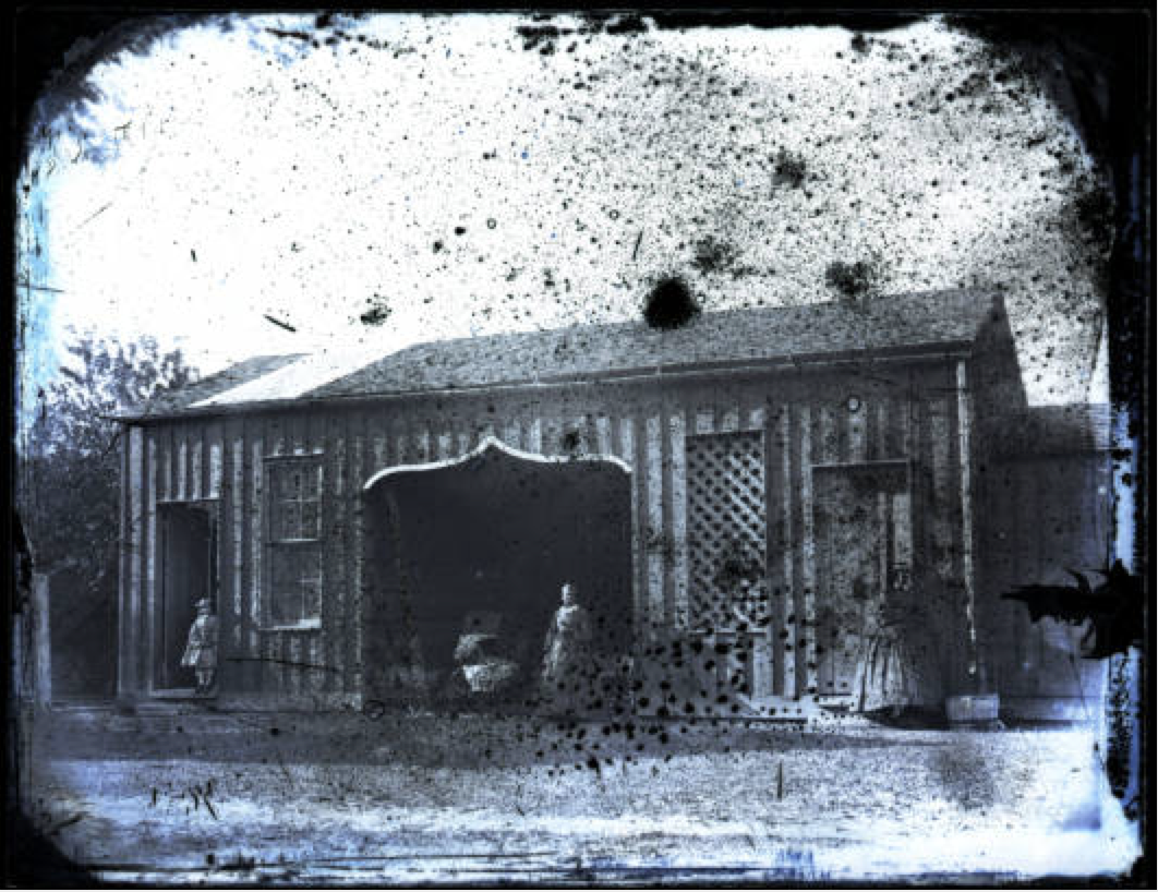 Carriage House and an (assumed) domestic servant, collodion glass plate negative by Edward C. Boynton, a professor of chemistry, minerology, and geology from 1856–1861