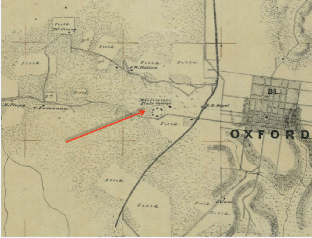 Portion of Lumpkin's Mill to Oxford Map showing UM Campus in 1862