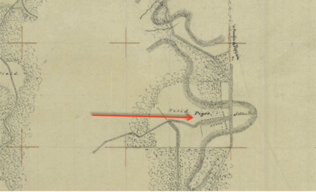 "Portion of Lumpkin's Mill to Oxford Map showing ""Pigee"" (Pegues) Field with Cotton Press and rows of slave quarters."