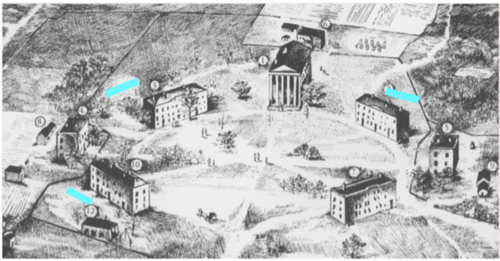 "Deborah Freeland's drawing, ""The University of Mississippi Campus, 1861"" showing the possible location of outbuildings that may have been slave quarters"