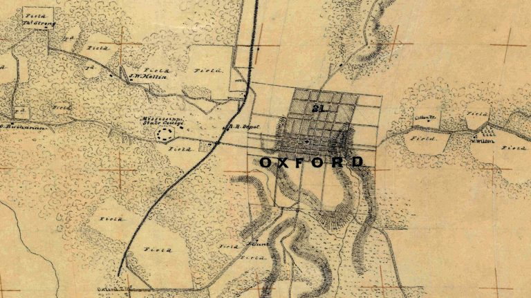 This map of Oxford from 1862, along with many other maps of north Mississippi, is available for online access. Members of the UM Slavery Research Group will demonstrate how to access these maps Nov. 13 at the Burns-Belfry Museum and Multicultural Center.